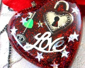 LOVE LOCK - Red Glitter and Silver Charm Resin Heart Necklace