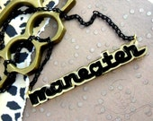 MANEATER - Laser Cut Acrylic Charm Necklace In Black and Gold Mirror