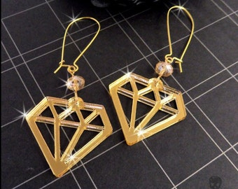 GOLD MIRROR DIAMONDS - Laser Cut Acrylic Charm Earrings