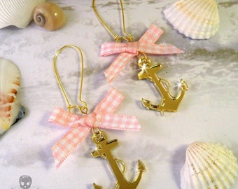 Gold Anchors and Pink Bows - Nautical Charm Earrings - Laser Cut Acrylic