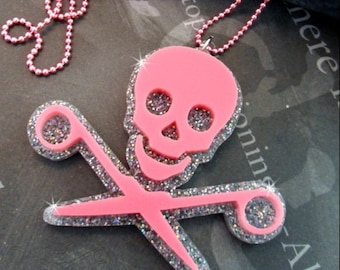 RUNNING WITH SCISSORS -  Skull and Scissors Laser Cut Acrylic Necklace in Pink and Silver Glitter