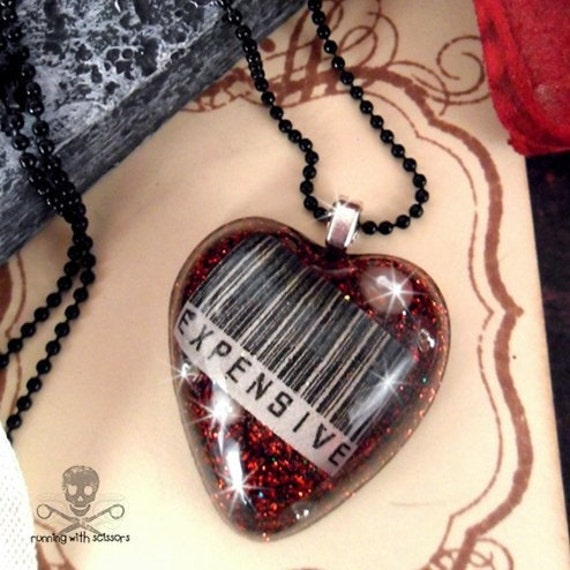 EXPENSIVE - Red Barcode Resin Heart Necklace