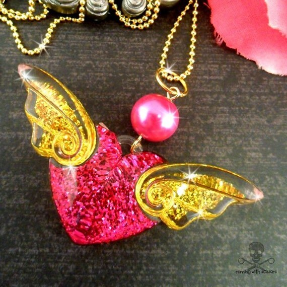 LOVEBIRD - PInk and Gold Glitter Necklace