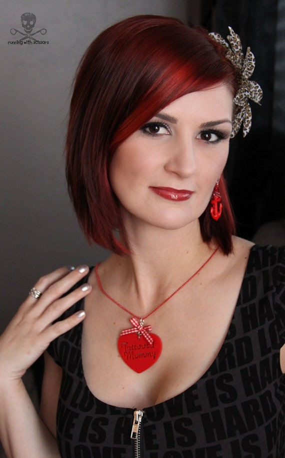 TATTOOED MOMMY - Laser Cut Acrylic Charm Necklace in Red