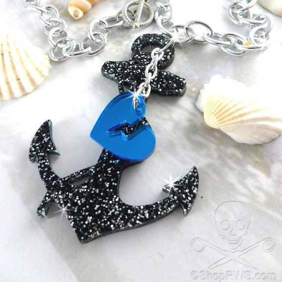 LOST AT SEA - Black Glitter Anchor and Blue Mirror Heart Laser Cut Acrylic Charm Necklace