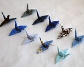 10 Mini Fabric Origami Cranes in an Organza Pouch - Blues