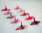10 Mini Fabric Origami Cranes - Pinks