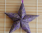 Purple Swirl Puffy Fabric Origami Star Ornament