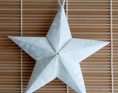 White Puffy Fabric Origami Star Ornament
