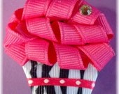 Funky Zebra Hot Pink Cupcake Clippie Hair Bow FREE CHRISTMAS CLIP WITH ALL ORDERS