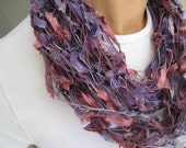 PIF Handknit Scarf Beautiful Tones of Lilac, Royal Purple, Rose Pink and Fucshia - Ready to Ship