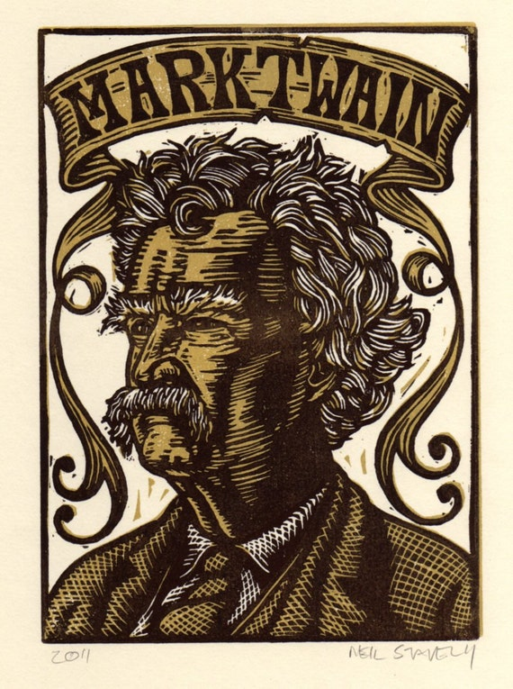 Mark Twain Linocut Portrait Print