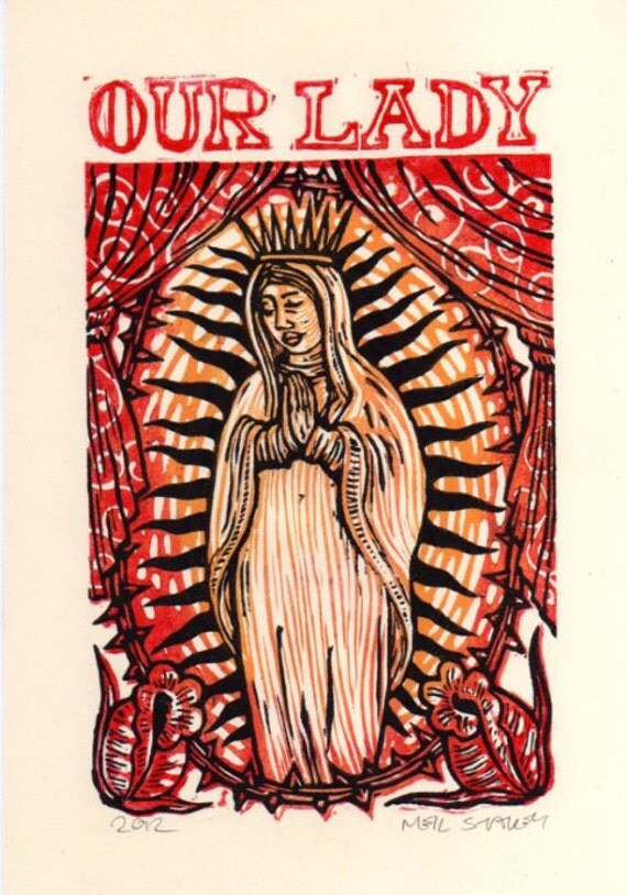 Virgin of Guadalupe Linoleum Block Print