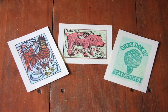 Pig, Rooster and Artichoke Farm Series Linocut Prints 3 Pack