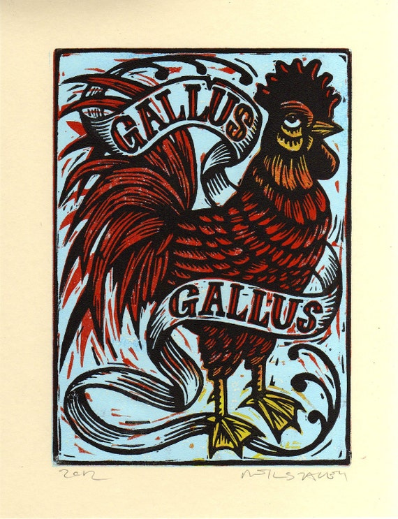 Rooster Hand Carved Linocut Art Print