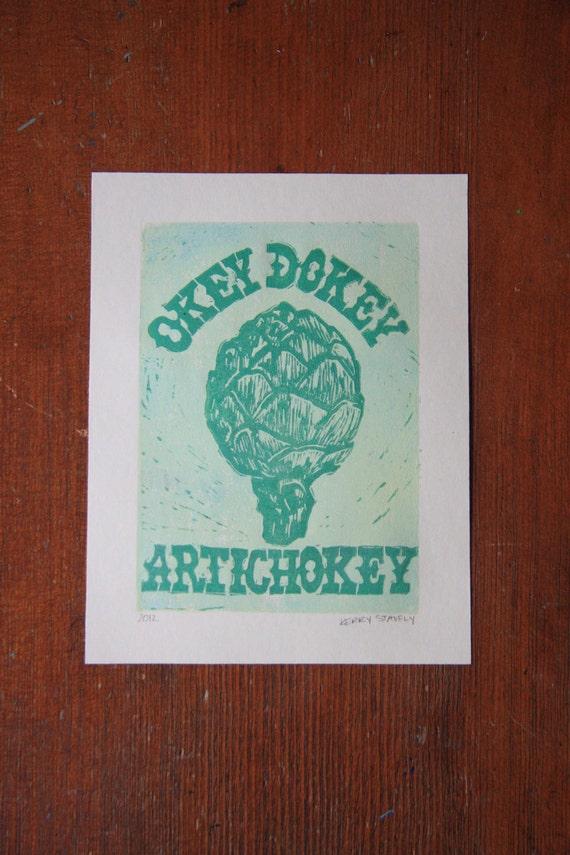 Artichoke Farm Series Linocut Full Color Art Print