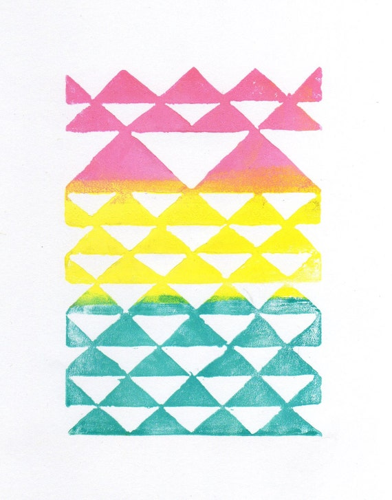 Neon Triangles Linocut Art Print