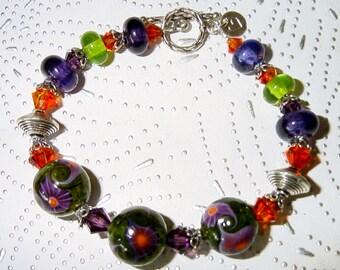 Hippie Hippie Shake Lampwork, Swarovski Crystals and Sterling Silver Bracelet