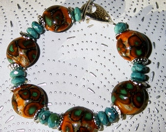 Southwestern Style Lampwork, Real Turquoise and Pewter Bracelet