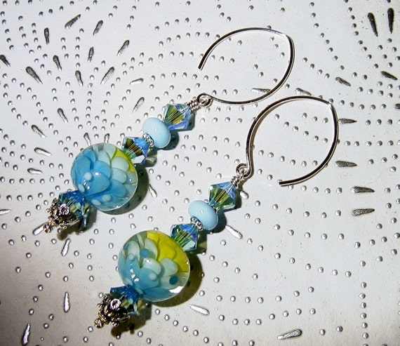 Pretty Petals Lampwork, Swarovski Crystals and Sterling Silver Dangle Earrings