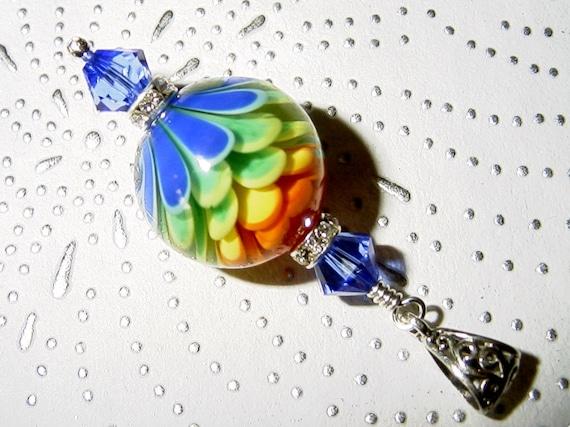 Flower Power Lampwork, Swarovski Crystals and Sterling Silver Pendant