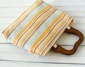 Resort - Striped Mini Purse Bright Yellows & Wooden Handles