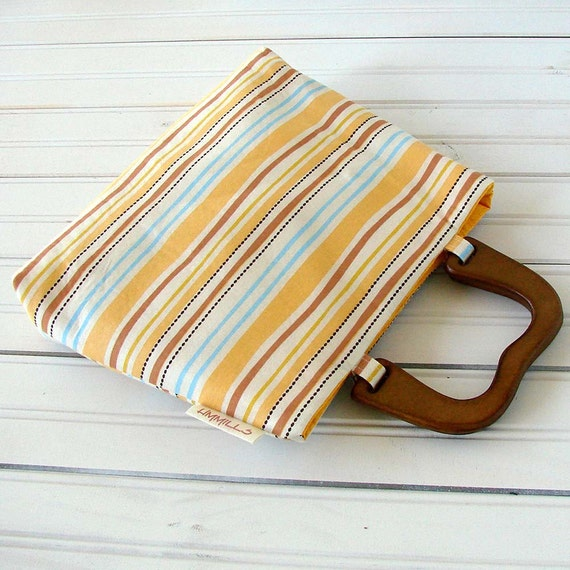 Resort - Striped Mini Purse Bright Yellows & Wooden Handles