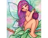 Raspberry Fairy - ACEO - fantasy PRINT artbywendy - wendy