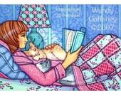 Cat Book Heaven - ACEO - Cat PRINT artbywendy - wendy