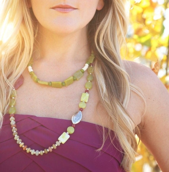 Sarai - Olive Jade, Ruby Jade, and Turkish Silver Necklace