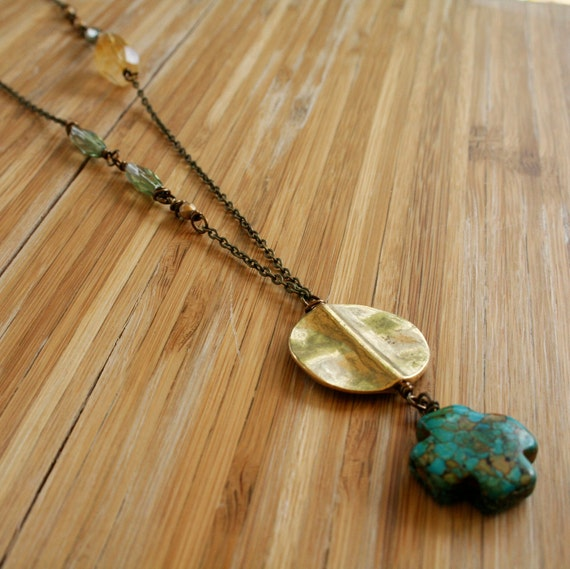 Lina Necklace - Mosaic Turquoise, Citrine, Mint Glass, Gold Glass - Long, Asymmetrical, Bohemian Necklace