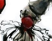 Red Clown, circus, balloon - Fine Art Print