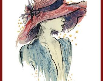 Woman in Hat - fine art print Illustration