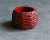 Bark carved ring in Crimson