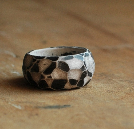 SALE, hand carved, black and white, clay, faceted ring