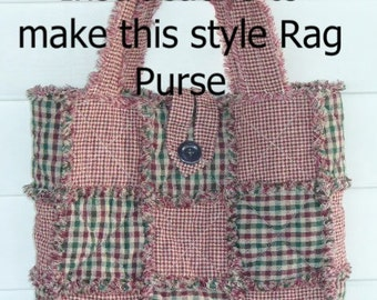 Rag Quilted Handbag Pattern : Rag Quilt PURSE PATTERN INSTRUCTIONS to make your by Ashlawnfarms