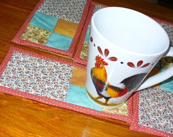 Coffee Mug Rugs Quilted Set of 6 Fall Autumn