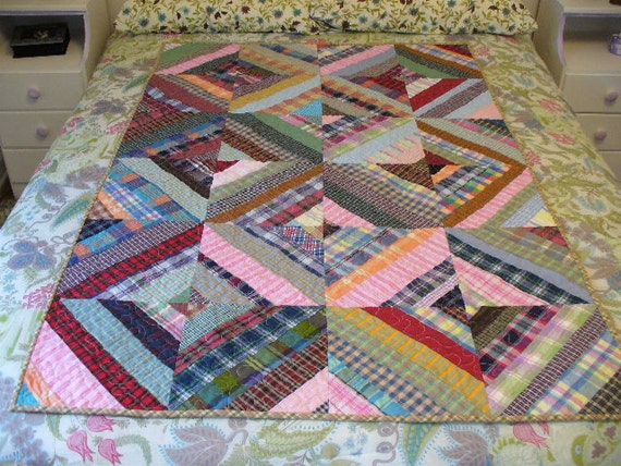 Homespun String Quilt Scrappy ready to ship