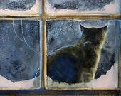STRAY......cat watercolor, fine art print 8.25 x 11.5