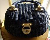 Blue plastic basket purse