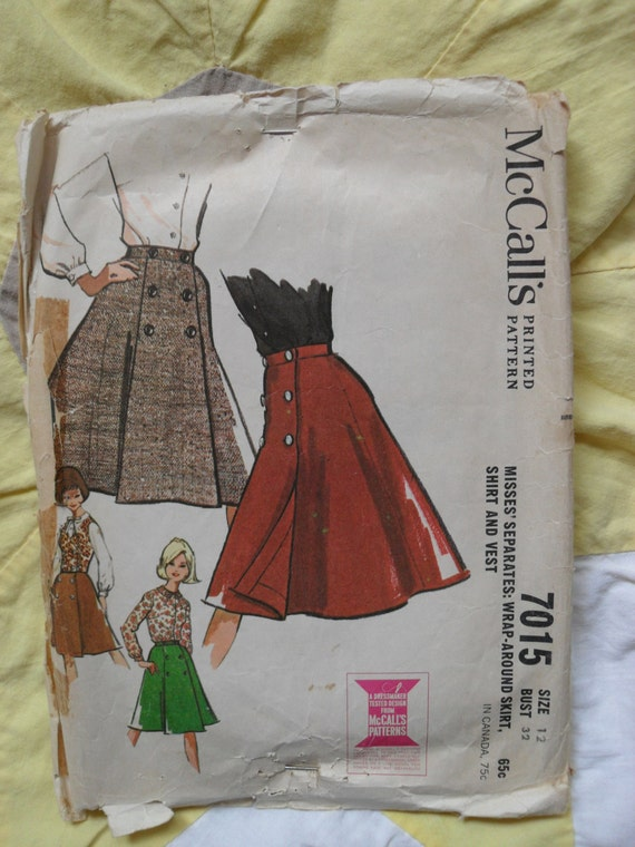 Vintage McCall's pattern 7015 misses wrap around skirt, shirt and vest size 12