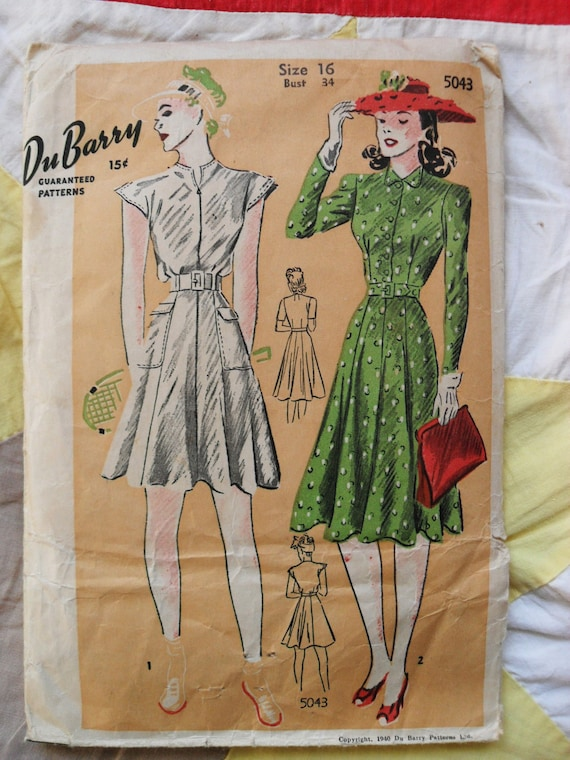 Vintage DuBarry pattern 5043 misses dress in 2 lengths size 16