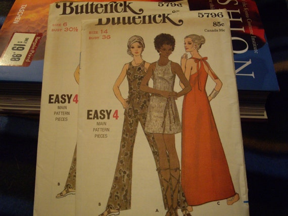 Vintage Butterick pattern 5796 misses dress or tunic and pants size 14