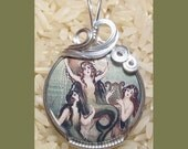 Mermaid Image 2 Silver Wire Wrap Pendant