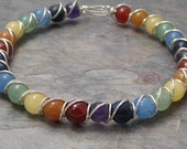 Rainbow Beaded Sterling Silver Wire Wrapped Bracelet
