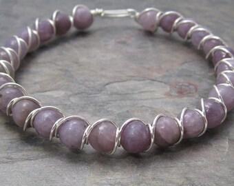 Light Lepidolite Beaded Sterling Silver Wire Wrapped Bracelet