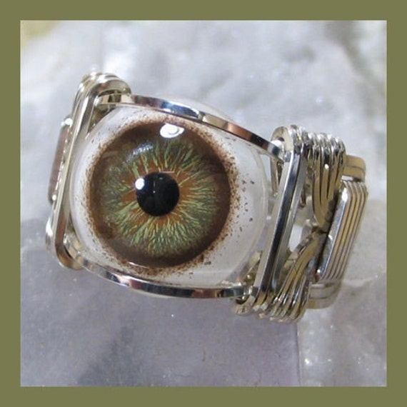 Hazel Glass Eye Silver Wire Wrap Ring ANY size