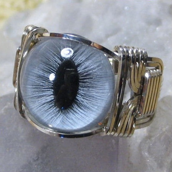 Blue Glass Cat Eye Silver Wire Wrap Ring ANY size