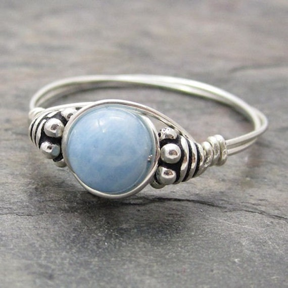aquamarine bali sterling silver wire wrapped ring by