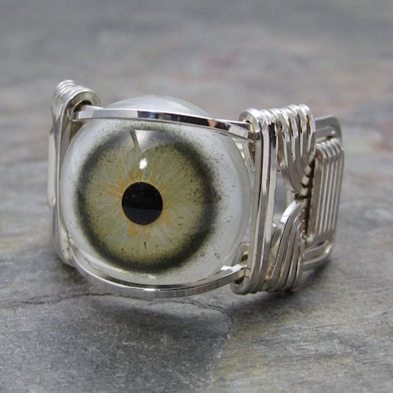 Green Glass Eye Eyeball Sterling Silver Wire Wrapped Ring ANY size